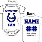 PERSONALIZED INDIANAPOLIS COLTS FAN BABY GERBER ONESIE OPTIONAL SOCKS GIFT