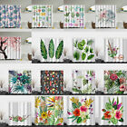 180x180cm Waterproof Floral Bathroom Shower Curtain Sheer Panel Decor w/12 Hooks
