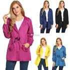 New Women Casual Long Sleeve Solid Hooded Zip Up Rainproof Windproof DZ88