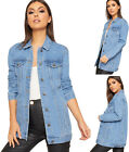 Womens Baggy Longline Classic Denim Jacket New Ladies Long Sleeve Button Pocket