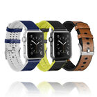 Men Women's Leather Silicone Wrist Band Bracelet For Apple Watch Series 1 2 3