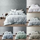 3 Pce Washed Cotton Quilt Doona Duvet Cover Set by Accessorize - QUEEN KING