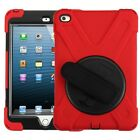 Black/Red Rotatable Stand Protector Cover with Wristband) for APPLE i Pad mini 4