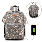 Baby Changing Backpack Nappy Diaper Bag Mums Dads Large Rucksack w/ USB Port US