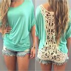 Womens Ladies Summer Lace Loose Top Short sleeve Blouse Casual Tops T-Shirt GIFT