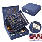 US STOCK Double-tier Jewelry Case Organizer Box Storage Wooden Display Show Box