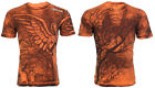 AFFLICTION Mens T-Shirt GRAVE ANGEL Graveyard ORANGE Motorcycle Biker UFC $62 image