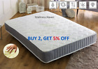 Memory Foam Mattress Quilted Sprung Single 3ft Double 4ft6 5ft Spring Matress