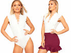 Womens Floral Lace Sleeveless Plunge V-Neck Bodysuit New Ladies Leotard Top 8-14