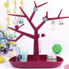 Tree Bird Stand Jewelry Earring Ring Necklce Display Holder Organizer Red