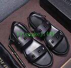 Fashion Men's Casual Slippers Real Leather Sports Sandals Flats Beach Shoes New