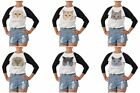 Portraits Of Cat Printed 100% Cotton Elbow Sleeves Raglan T-Shirt WTS_03