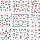 Nail Art 3D Stickers Glitter Decals Easter Spring Love Birds Flowers New