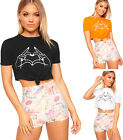 Womens Hands Graphic Print Short Sleeve Tied Front T-Shirt Crop Top Ladies Knot
