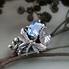 Fashion Women 925 Silver Blue Topaz Dragonfly Ring Wedding Party Jewelry Gift