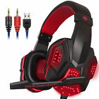3.5mm Wired Gaming Game Headset w/Mic LED Headphones for PC Mac Laptop Computer
