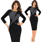 Womens Vintage Faux Leather Inset Patchwork Slim Wear To Work Party Sheath Dress