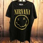 New Mens Kurt Cobain Nirvana Guitar Black Portrait Graphic T-Shirt Sz XS - XXXL