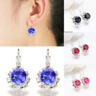 Chic 1 Pair Women Silver Plated Crystal Rhinestone Ear Stud Hoop Earrings Gift
