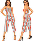 Womens Strappy Striped Culottes High Waist Jumpsuit Shorts Trousers Ladies New