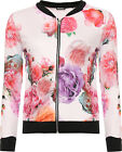 Womens Floral Bomber Jacket Ladies Floral Print Long Sleeve Zip Stretch