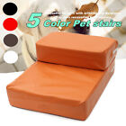 Folding Portable 2 Steps Dog Cat Pet Stairs Ramp Ladder Leather Cover Sofa Bed