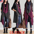US Women Sleeveless Long Waistcoat Jacket Vest Coat Cardigan