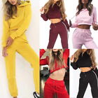 2PCS Fashion Womens Casual Tracksuits Set Cropped Hooded Tops+pants Sportwear US