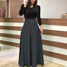 USA Women Long Sleeve Splice Floral Long Maxi Dress Cocktail Party Ball Gown New <br/> US Stock Free Ship* 60days Free Return *10% OFF 2+ ITEM