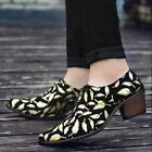 Mens Floral Shoes Block Heels Lace Up Formal Business Pointed Toe Casual Fashion