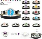 alloy 25MM Essential Oil Bracelet Leather Wrap Aroma Diffuser Crystal Locket