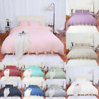 Washed Cotton Bedding Set Comforter Duvet Cover Pillowcase Bed Sets Solid Color image