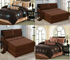11 Piece Micro Suede Brown Comforter Sheet Set Queen Or King Size AT Linen Plus image
