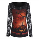 US Women Casual Lace Print Long Sleeve HAPPY HALLOWEEN Shirt Blouse Holiday Tops