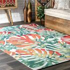 nuLOOM NEW Indoor Outdoor Modern Tropical Nature Area Rug in Off White Green
