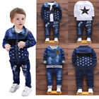 Kids Baby boys casual Outfits denim Tops & Long Pants party Clothes Set fashion