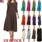 Women Long Sleeve Plains Long Maxi Dress Casual Swing Skater