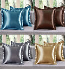 2 Piece LinenPlus Collection Euro Shams Satin Pillow Case Available All Colors image