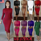 Women Bodycon Long Sleeve Evening Party Cocktail Stretch Pencil Midi Dresses USA
