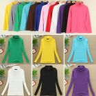 Women Cotton Spandex Long Sleeves Turtleneck T-Shirt Tops Tee Blouse Sweater USA