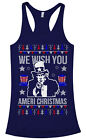 We Wish You Ameri Christmas Women's Racerback Tank Top Holiday Uncle Sam
