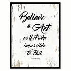 Believe & Act As If It Were Impossible To Fail Motivation Quote Saying Canvas