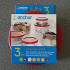 Anchor Hocking Replacement Cover Lid Package Set 1c 2c 4c 7c Red Round Free Ship