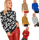 Womens Long Sleeve Knitted Leopard Animal Jumper Ladies Sweater Top Pullover