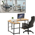L-Shape Corner Computer Gaming Desk Wood Steel Laptop Table Workstation Office
