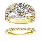 1.25 Carat White Round Diamond Solitaire Double Halo Infinite Ring Yellow Gold