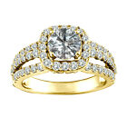 1.5 Carat White Round Diamond Solitaire Bridal Halo Engagement Ring Yellow Gold