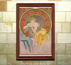 Внешний вид - Art Nouveau Print A. Mucha Girl with Easel 1898 [6 sizes, matte+glossy avail]