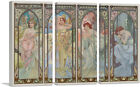 ARTCANVAS Times of The Day Canvas Art Print by Alphonse Mucha