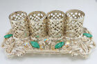 Silver Tone Green Stone Aurora Borealis Rhineston Lipstic Holder Holds Four